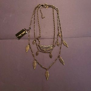 Cookie Lee 3 Strand Feather 2 Necklace In One NWT